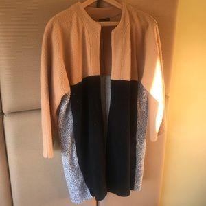 Zara Open Front Camel/Grey/Black Soft Cardigan